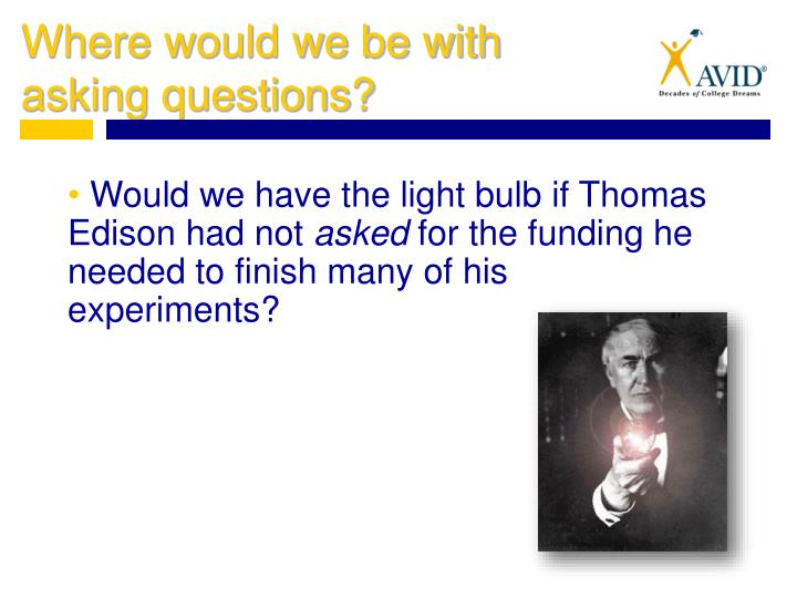 Would we have the light bulb if Thomas Edison had not