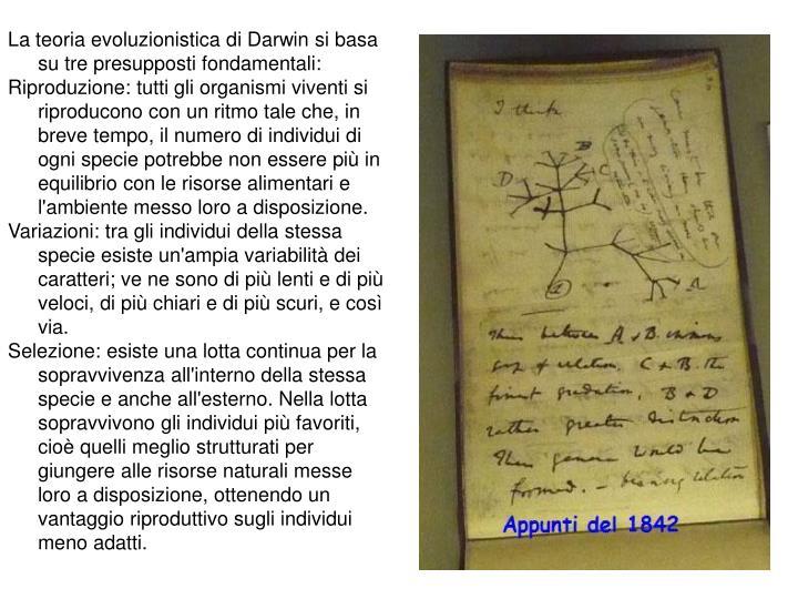 La teoria evoluzionistica di Darwin si basa su tre presupposti fondamentali: