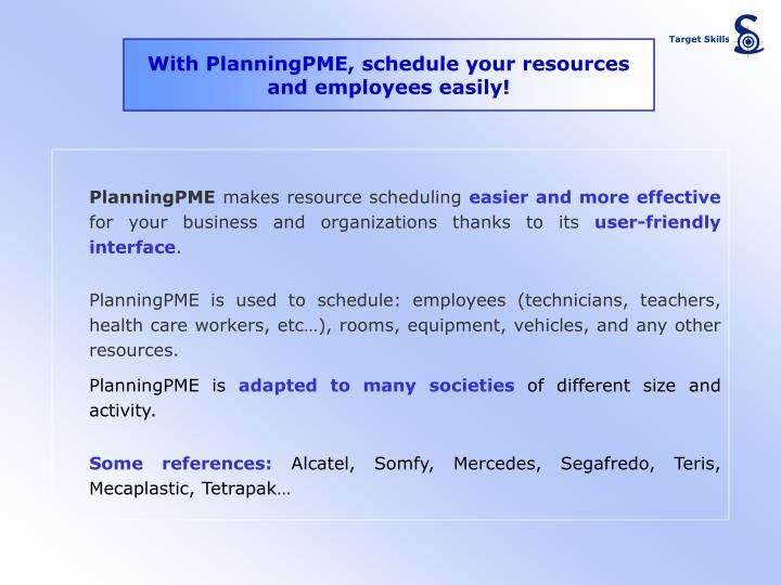With planningpme schedule your resources and employees easily