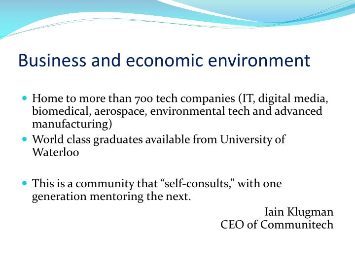Business and economic environment