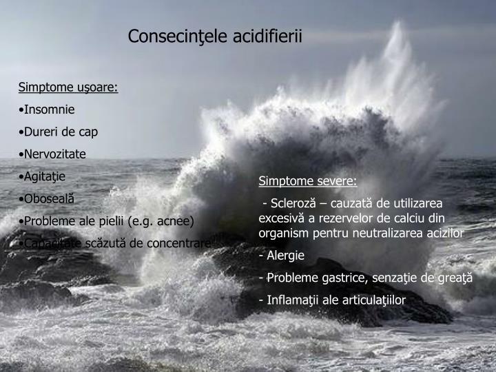 Consecinţele acidifierii