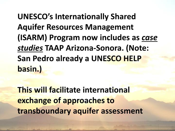UNESCO's Internationally Shared Aquifer Resources Management (ISARM) Program now includes as