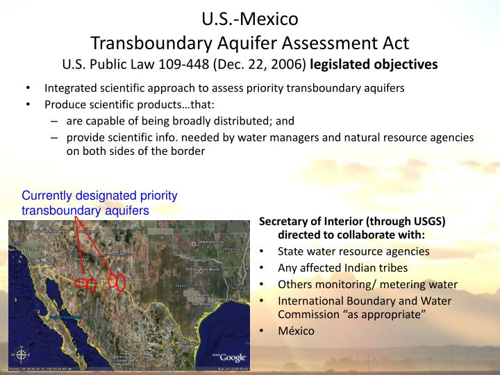 Currently designated priority transboundary aquifers