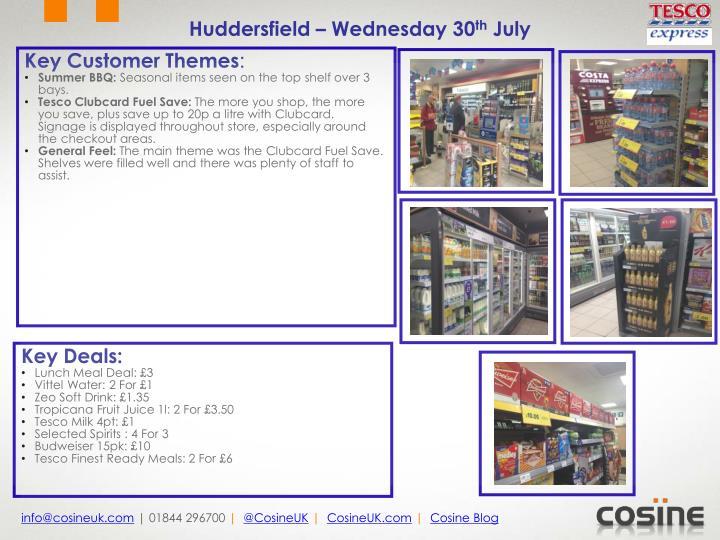 Huddersfield – Wednesday 30