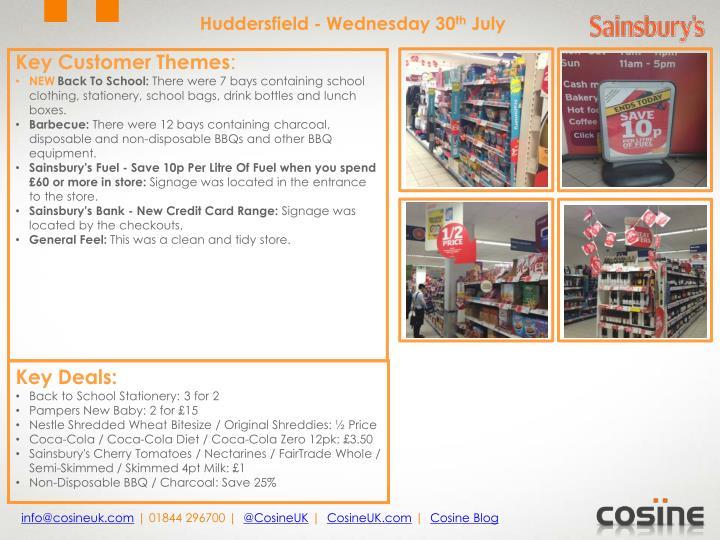 Huddersfield - Wednesday 30
