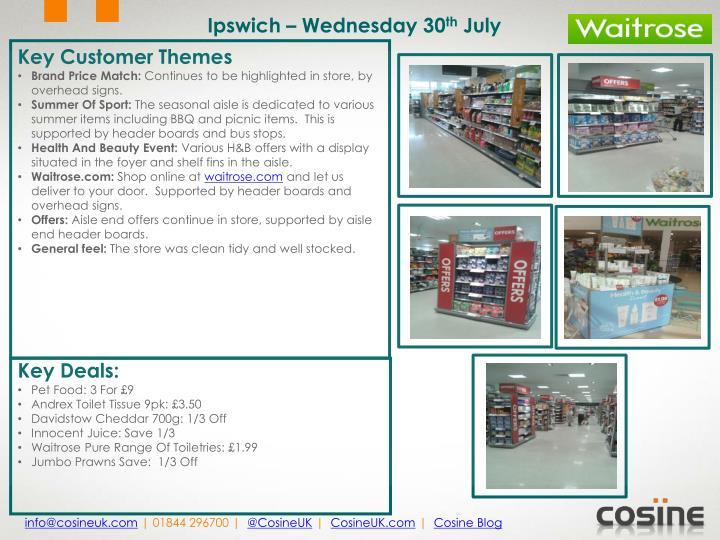 Ipswich – Wednesday 30
