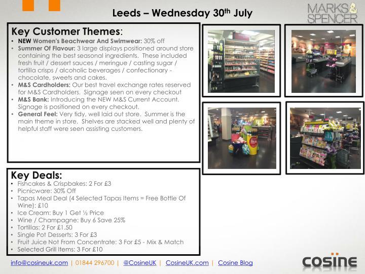 Leeds – Wednesday 30