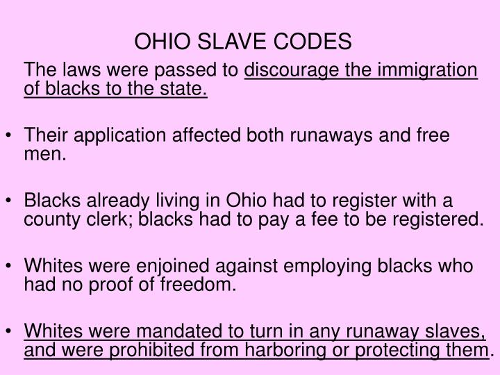 OHIO SLAVE CODES