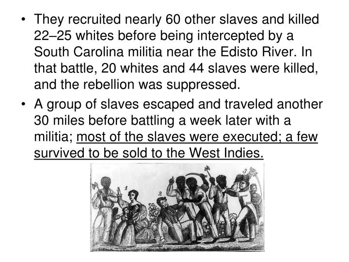 They recruited nearly 60 other slaves and killed 22–25 whites before being intercepted by a South Carolina militia near the Edisto River. In that battle, 20 whites and 44 slaves were killed, and the rebellion was suppressed.