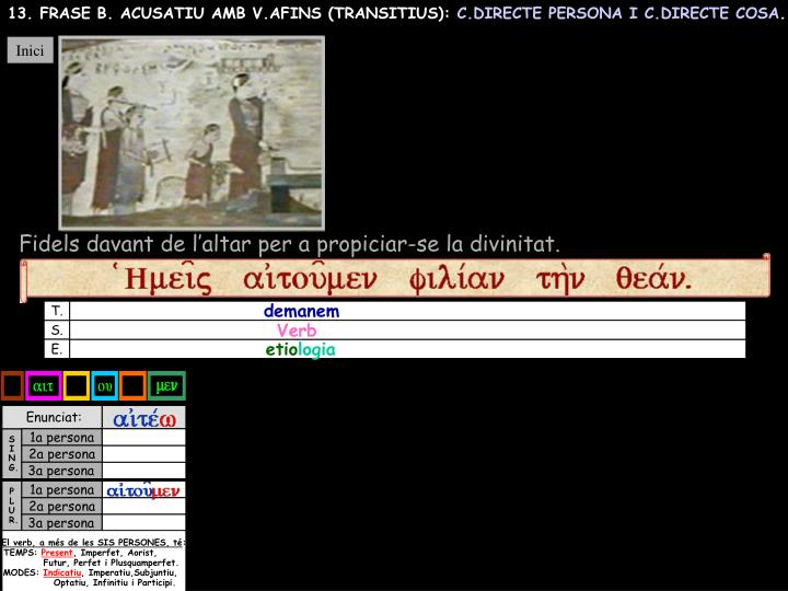 13. FRASE B. ACUSATIU AMB V.AFINS (TRANSITIUS):