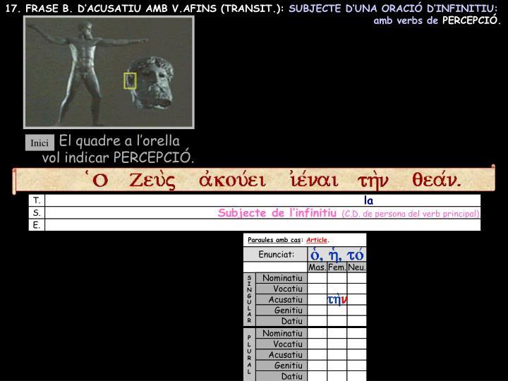 17. FRASE B. D'ACUSATIU AMB V.AFINS (TRANSIT.):