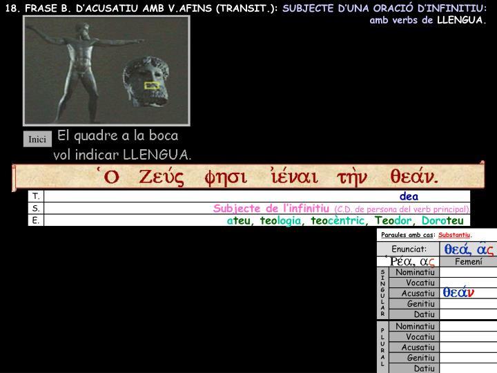 18. FRASE B. D'ACUSATIU AMB V.AFINS (TRANSIT.):