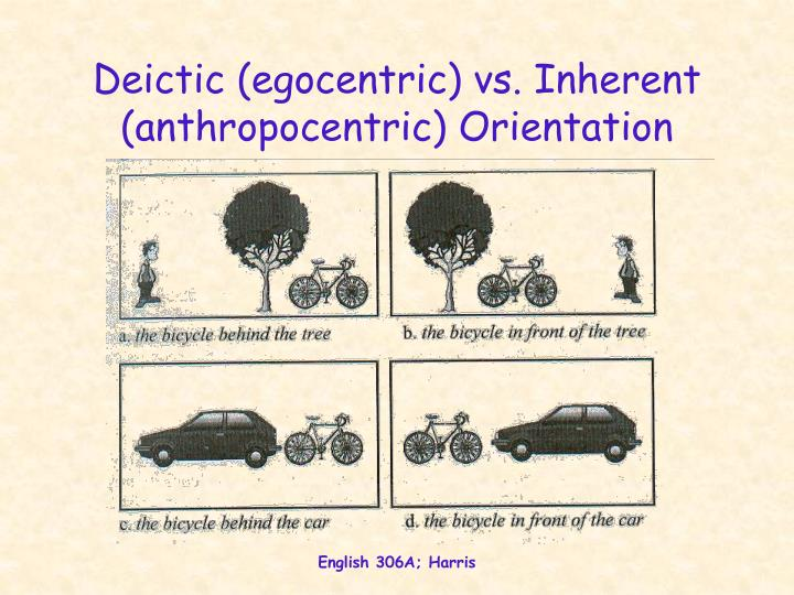 Deictic (egocentric) vs. Inherent (anthropocentric) Orientation