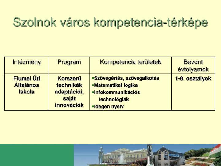 Szolnok város kompetencia-térképe