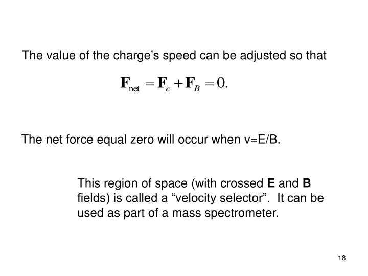 The value of the charge's speed can be adjusted so that