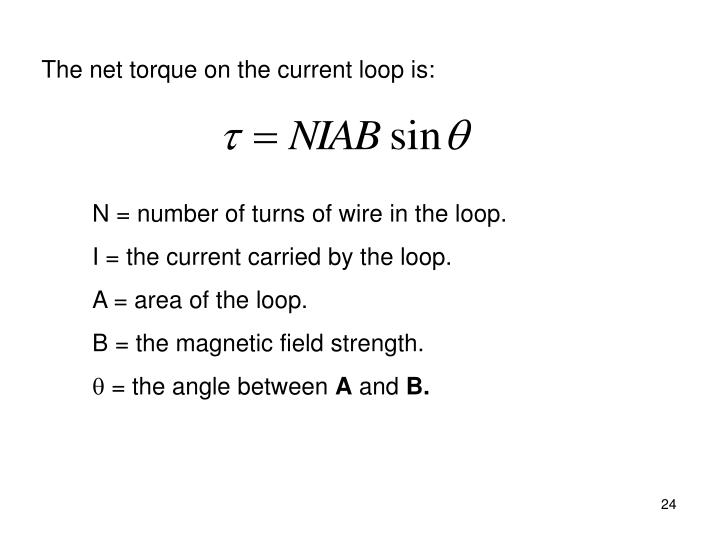 The net torque on the current loop is: