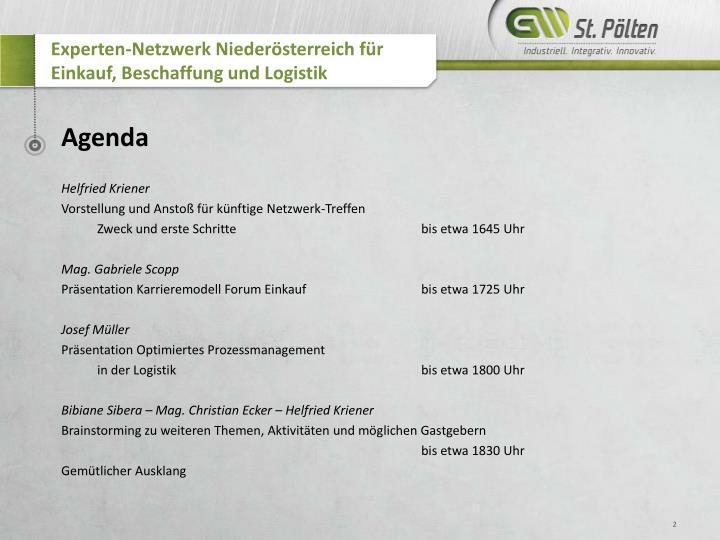 Experten-Netzwerk Niederösterreich für Einkauf, Beschaffung und Logistik