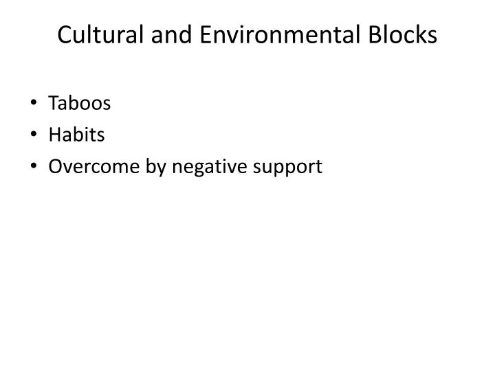Cultural and Environmental Blocks