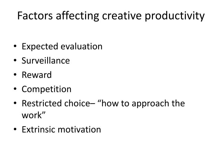 Factors affecting creative productivity