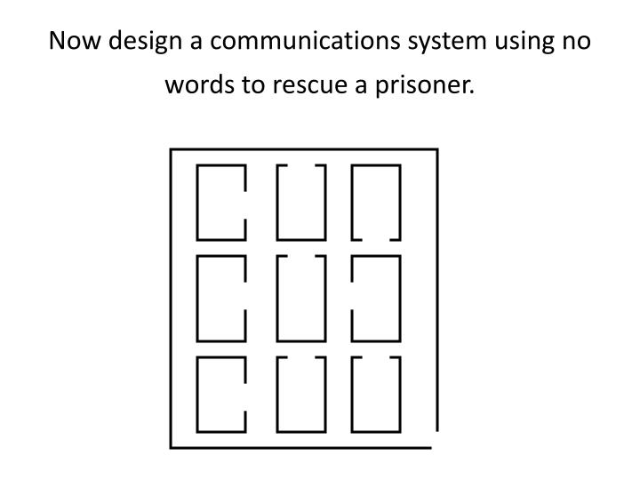 Now design a communications system using no words to rescue a prisoner.