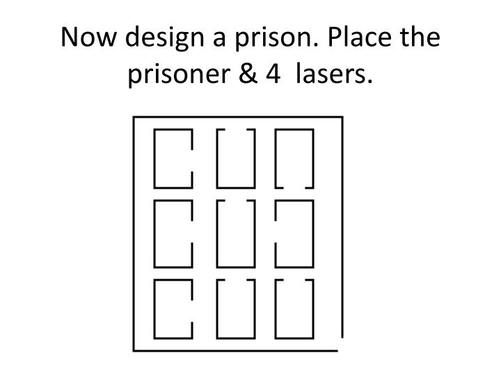 Now design a prison. Place the prisoner & 4  lasers.