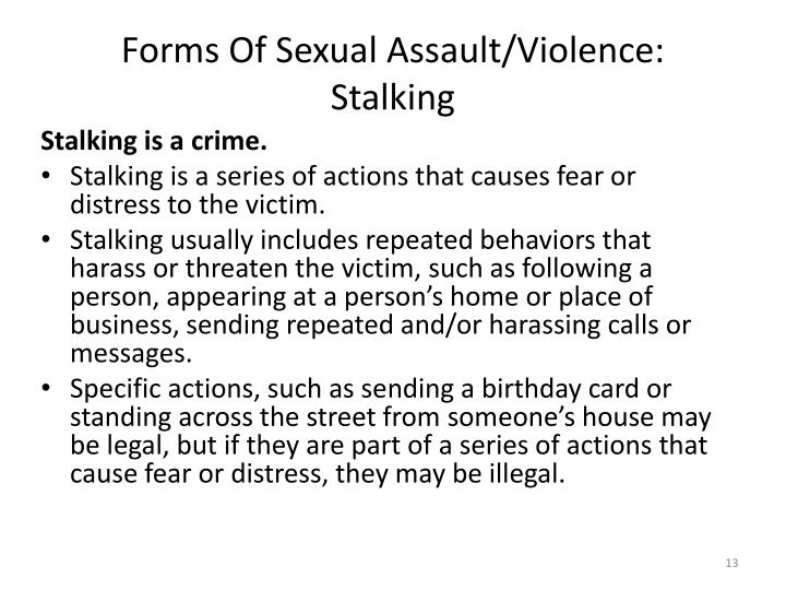 Forms Of Sexual Assault/Violence: