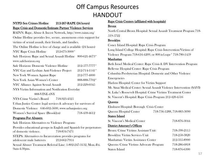 Off Campus Resources