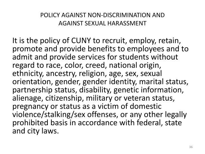 POLICY AGAINST NON-DISCRIMINATION AND