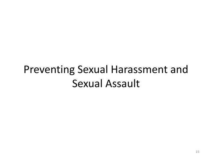 Preventing Sexual Harassment and