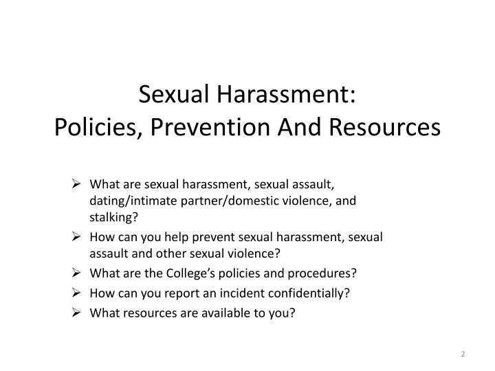 Sexual harassment policies prevention and resources