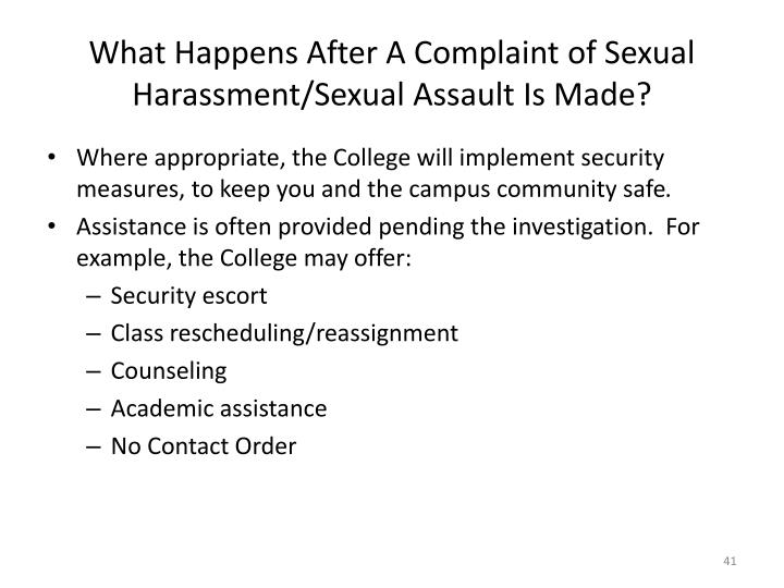 What Happens After A Complaint of Sexual