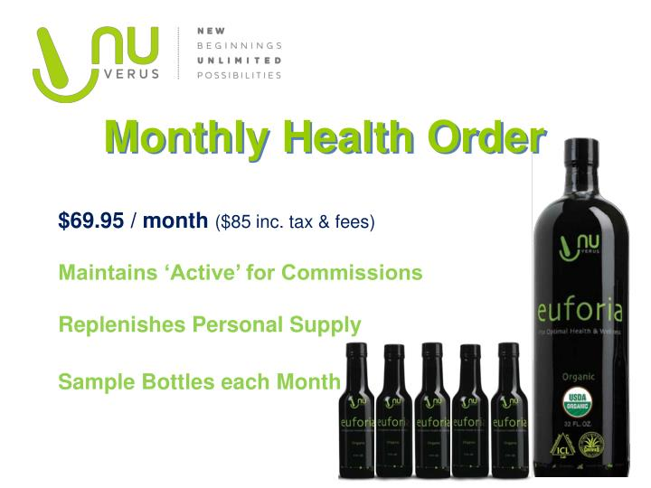Monthly Health Order
