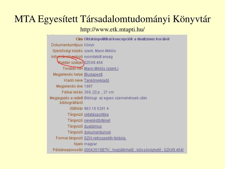 MTA Egyesített Társadalomtudományi Könyvtár