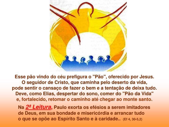 """Esse pão vindo do céu prefigura o """"Pão"""", oferecido por Jesus."""