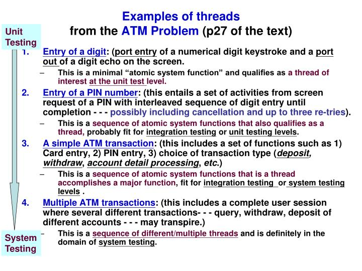 Examples of threads from the atm problem p27 of the text