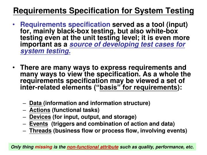 Requirements Specification for System Testing