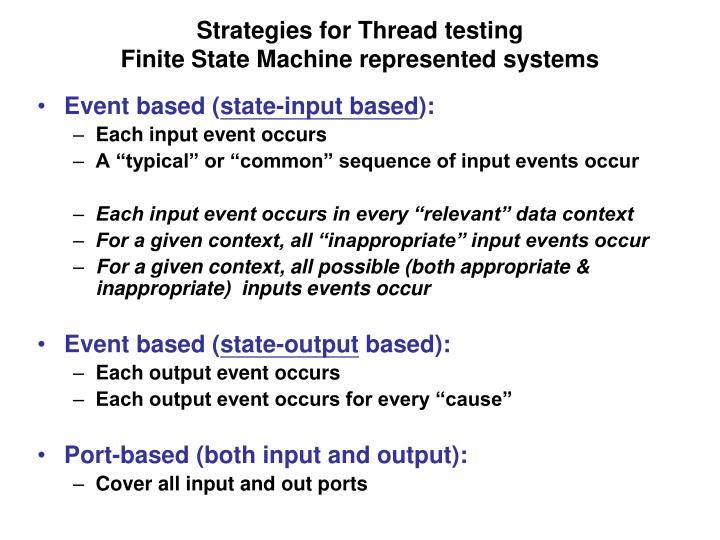 Strategies for Thread testing