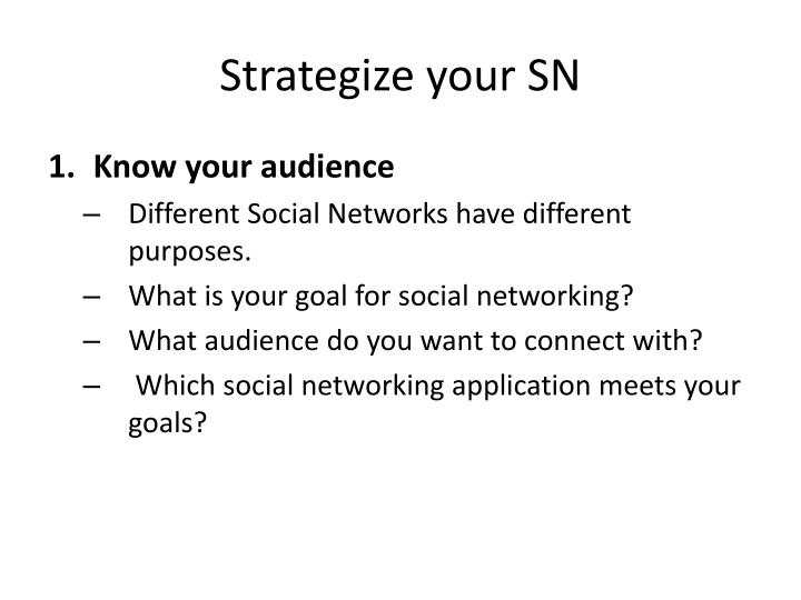 Strategize your SN