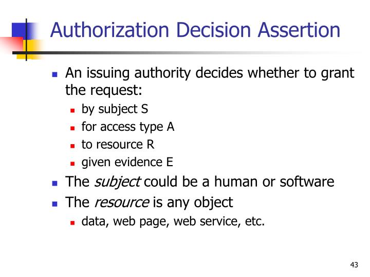 Authorization Decision Assertion