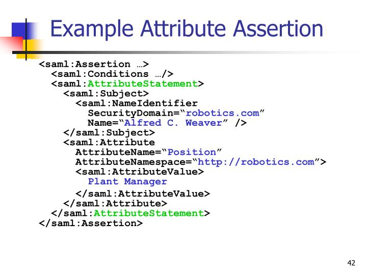 Example Attribute Assertion