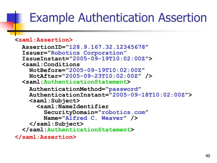 Example Authentication Assertion
