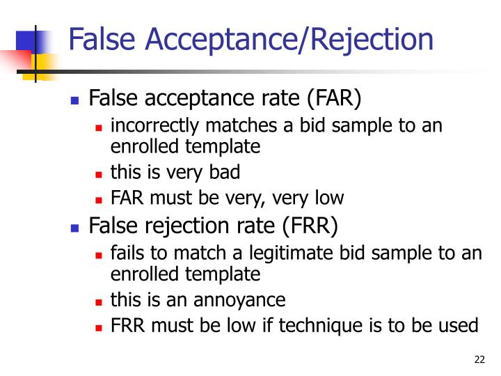 False Acceptance/Rejection