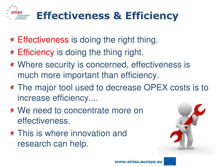 effectiveness is more important than efficiency Get an answer for 'in today's environment, which is more important to organizations, efficiency or effectiveness ' and find homework help for other business questions at enotes.
