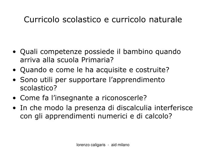 Curricolo scolastico e curricolo naturale