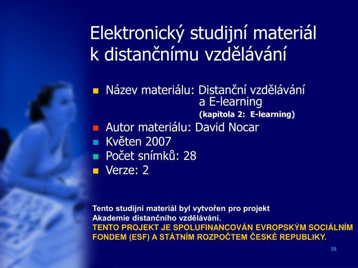 Elektronický studijní materiál
