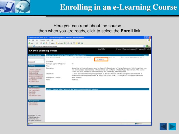 Enrolling in an e-Learning Course