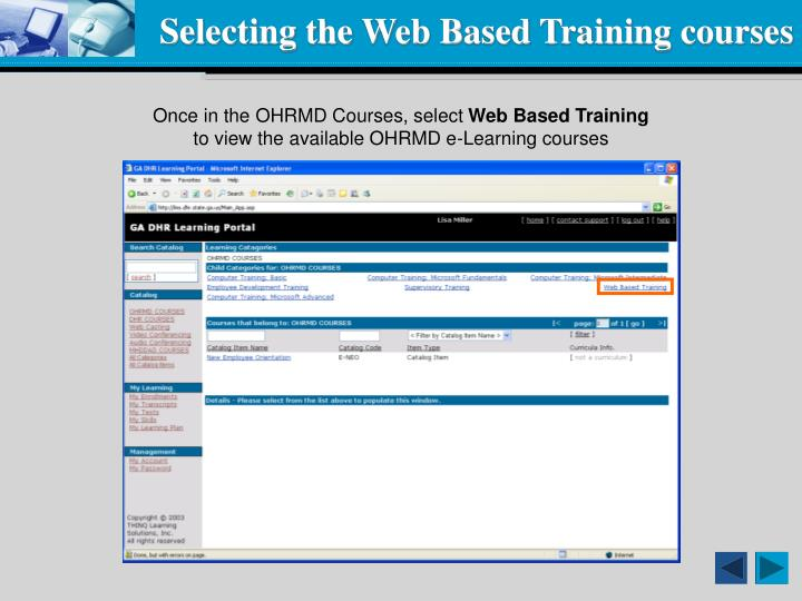 Selecting the Web Based Training courses