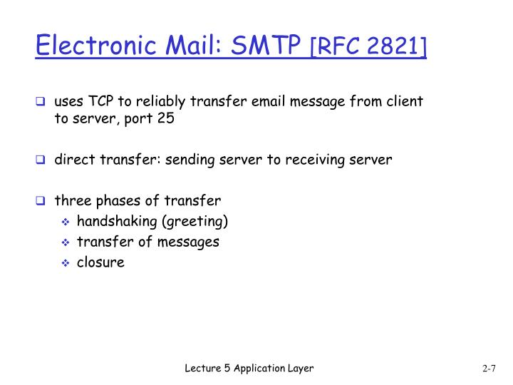 uses TCP to reliably transfer email message from client to server, port 25