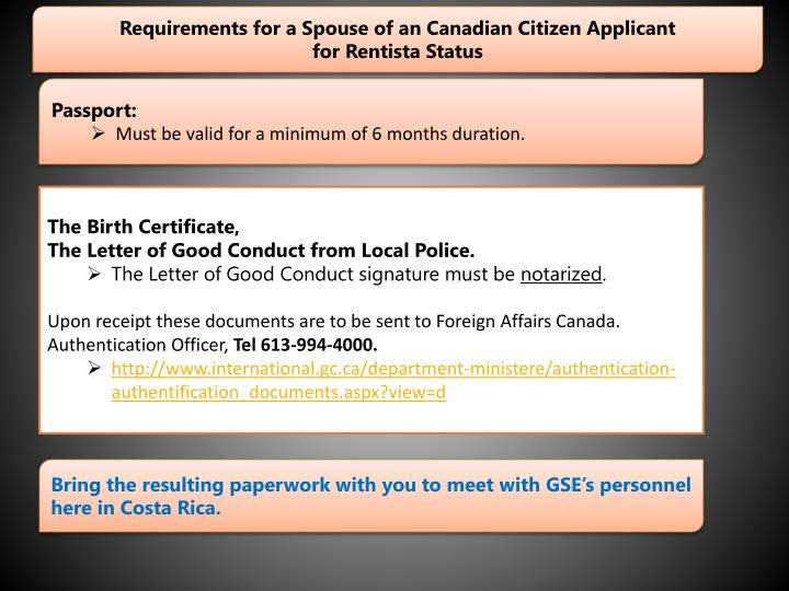 Requirements for a Spouse of an Canadian Citizen Applicant