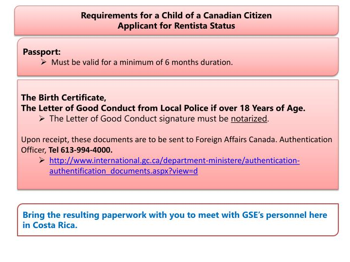 Requirements for a Child of a Canadian Citizen